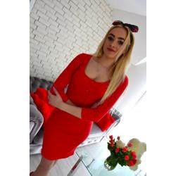 Sukienka prążkowana czerwona