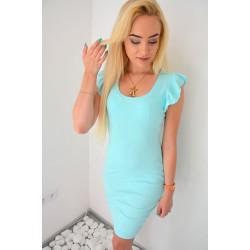 Błękitna sukienka prążkowana