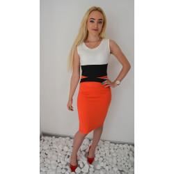 Pomarańczowa sukienka ołówkowa
