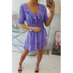 Sukienka taliowana fioletowa