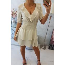 Sukienka taliowana beżowa
