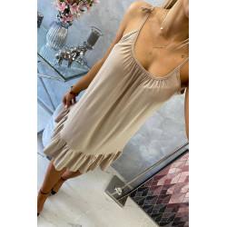 Letnia luxna sukienka beżowa